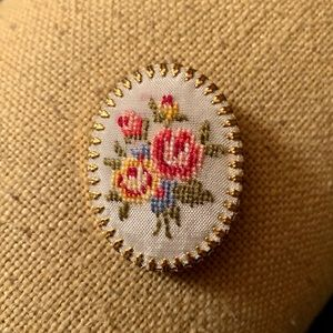 Vintage Hand Embroidered Lapel Pin